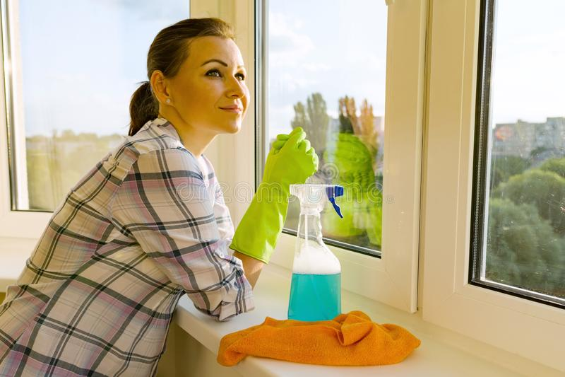 Femmina con il detersivo di gomma dei guanti protettivi, dello straccio e dello spruzzatore esaminante una finestra lavata pulita fotografia stock
