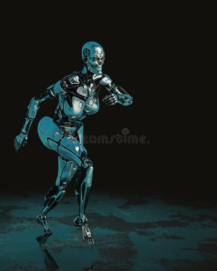 Femmina cyber in un fondo scuro e bagnato illustrazione vettoriale