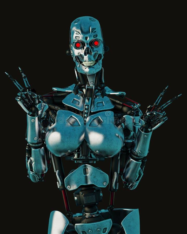 Femmina cyber in un fondo scuro e bagnato illustrazione di stock