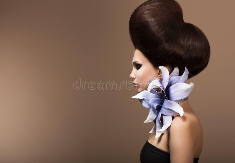 Designazione. Donna splendida di modo con l'acconciatura d'avanguardia. Capelli di Brown fotografia stock libera da diritti