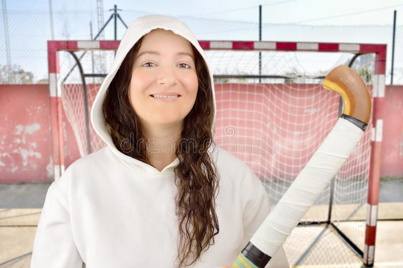 Femmina del giocatore di hockey fotografia stock libera da diritti