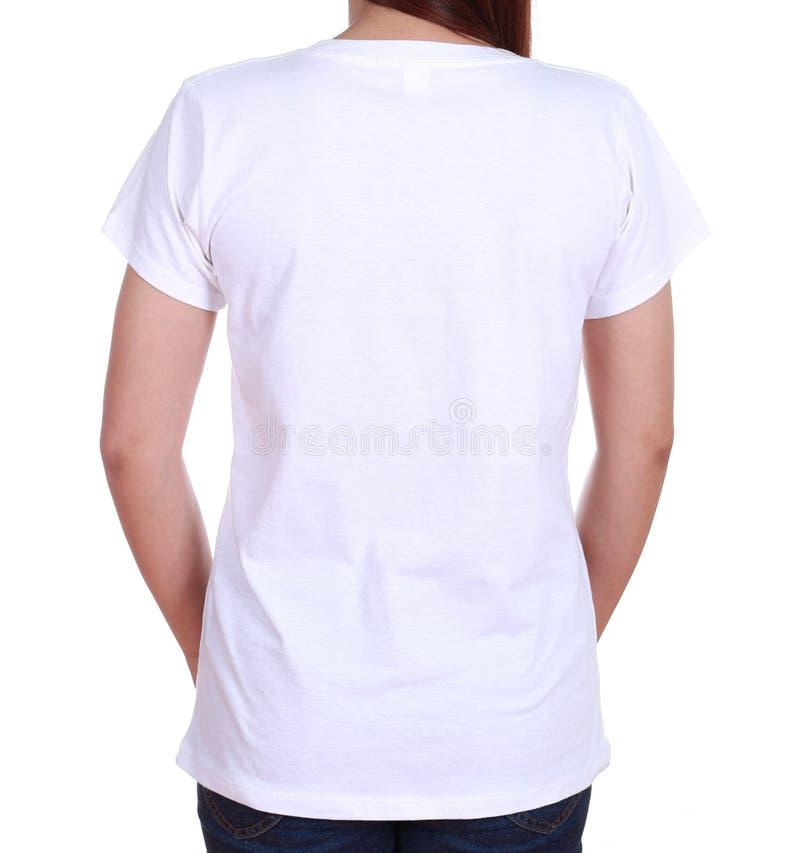 Femmina del primo piano con la maglietta in bianco (lato posteriore) fotografie stock libere da diritti