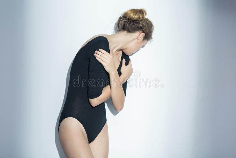 Femmina depressa con il problema mentale fotografia stock