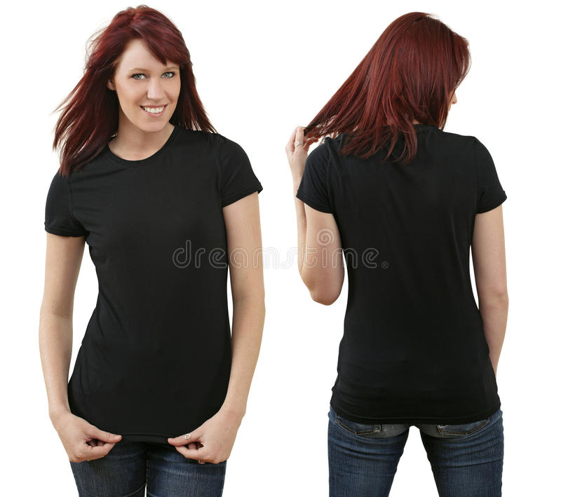 Femmina di Redhead con la camicia nera in bianco fotografie stock libere da diritti