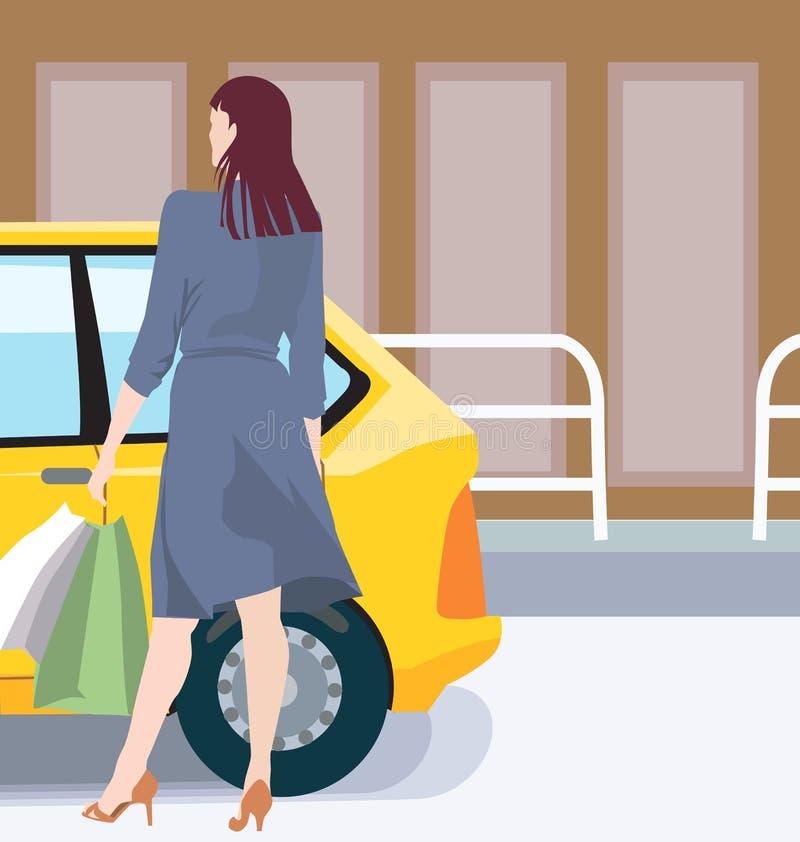 Femmina ed automobile illustrazione vettoriale