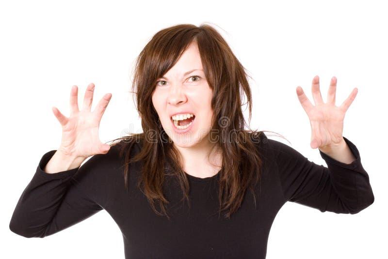 Donna femminile e sollecitata frustrata, isolata immagini stock
