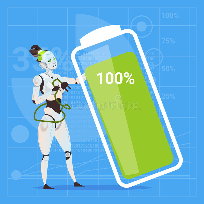 Femmina moderna del robot con il concetto futuristico di tecnologia di intelligenza artificiale della carica della batteria compl illustrazione vettoriale