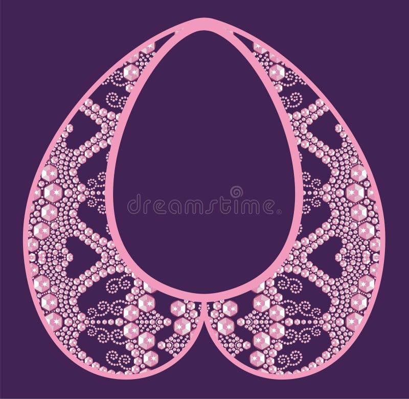Femmina ricca con le pietre preziose rosa, lustro della collana di fascino della maglietta della stampa di modo dalle pietre bril illustrazione vettoriale