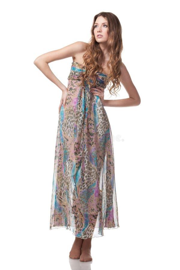 Femmina in vestito chiffon fotografia stock