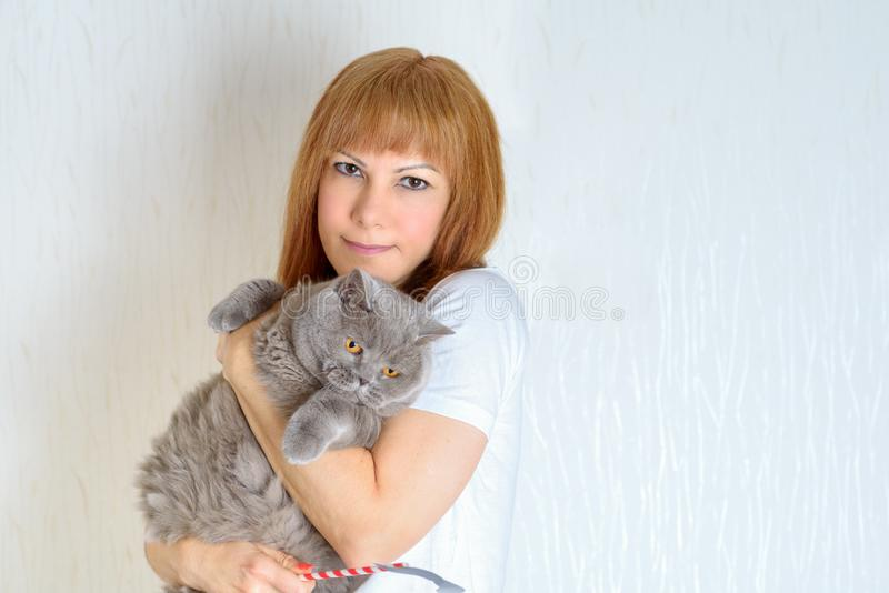 Femminile senior maturo dei peli biondi o rossi rilassandosi a casa gatto facente le fusa sveglio di tenuta e huging fotografia stock libera da diritti