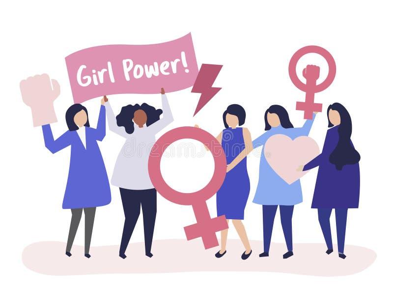 Femministe che sostengono uguaglianza di genere con un raduno pacifico illustrazione vettoriale