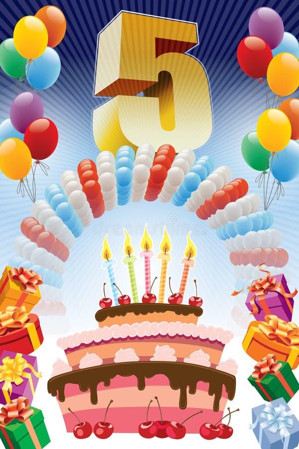 Femte födelsedagaffisch royaltyfri illustrationer