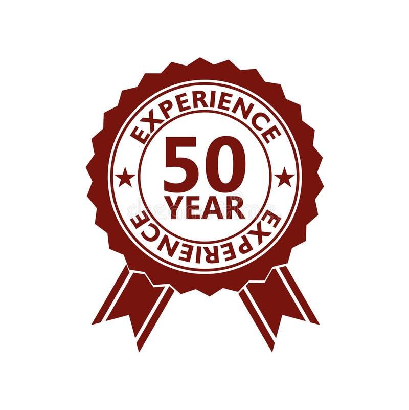 Femtio år erfarenhet, 50 år erfarenhetssymbol, tecken, knapp vektor illustrationer