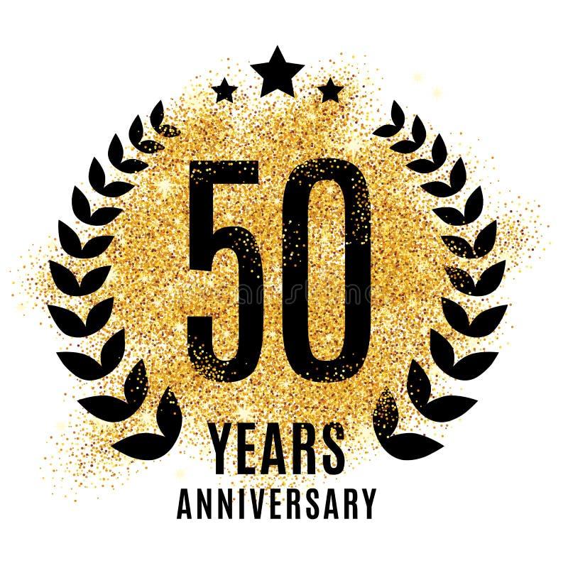 Femtio år guld- årsdag stock illustrationer
