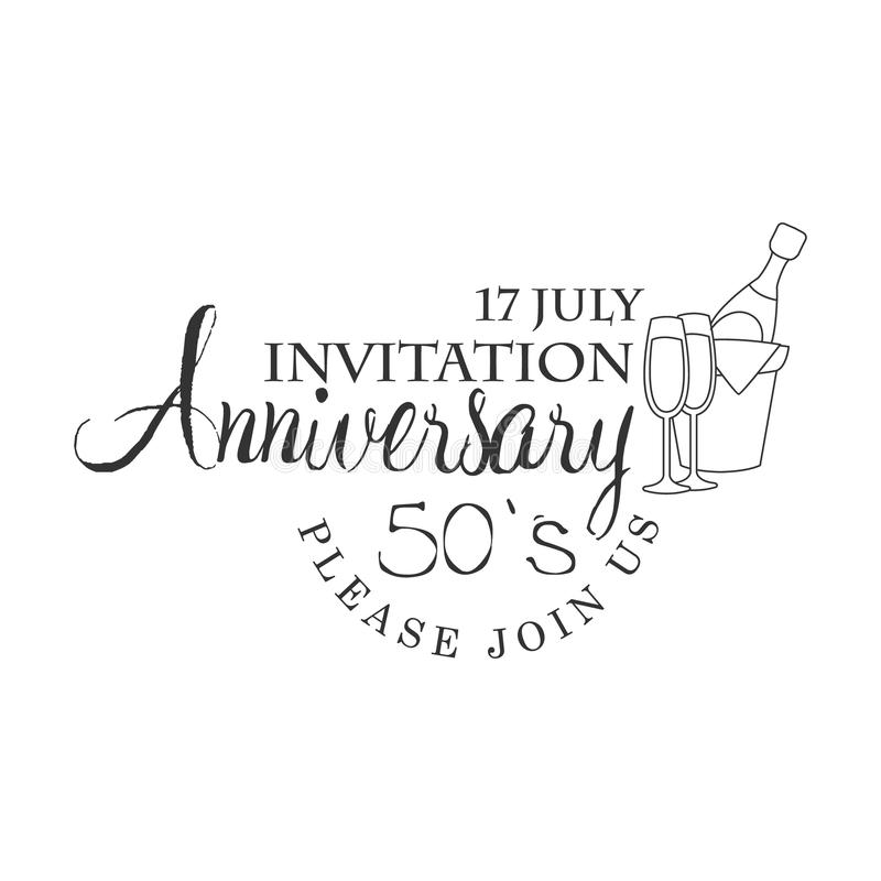 Femtio år mall för design för kort för inbjudan för årsdagparti svartvit med Calligraphic text royaltyfri illustrationer