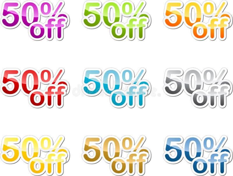 femtio av procentetikett vektor illustrationer