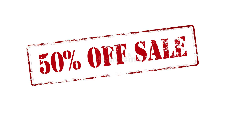 femtio av procentförsäljning vektor illustrationer