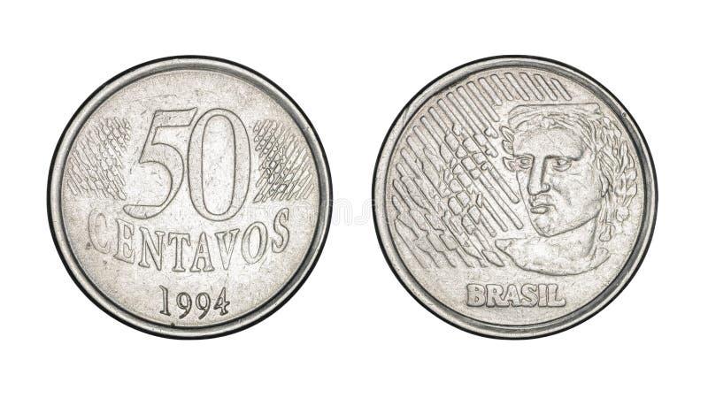 Femtio cent brasilianska verkliga mynt-, framdel- och baksidaframsidor - gammalt mynt fotografering för bildbyråer