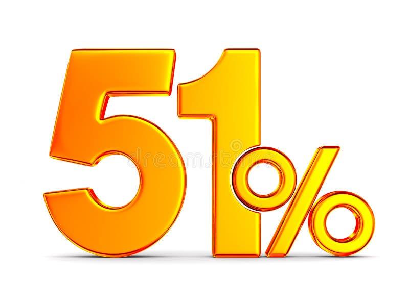 Femtio en procent p? vit bakgrund Isolerad illustration 3d royaltyfri illustrationer