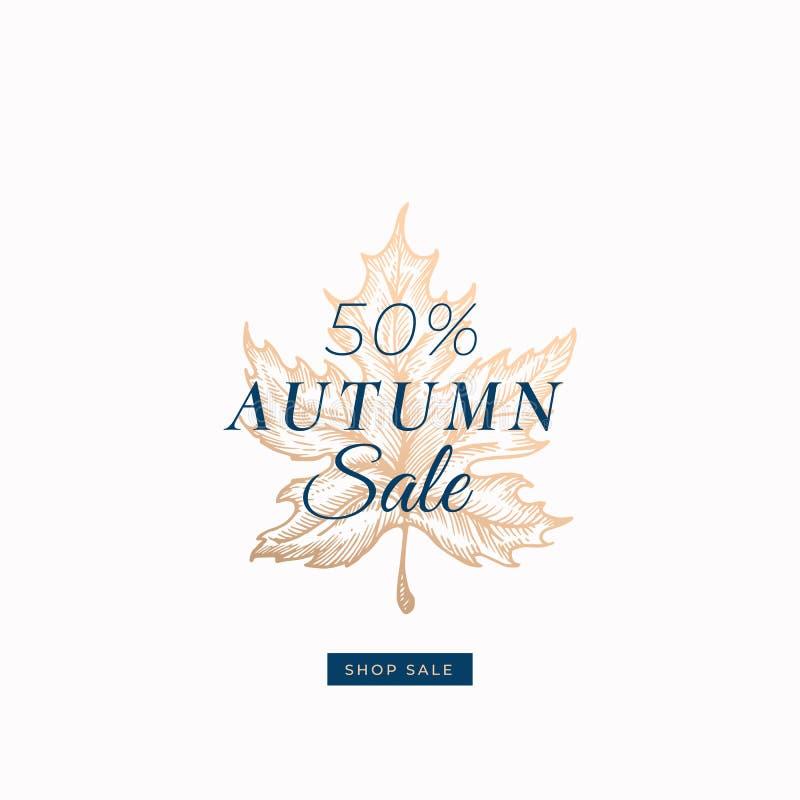Femtio procent Autumn Sale Retro etikett för abstrakt vektor, tecken eller kortmall Handen drog guld- lönnlövet skissar royaltyfri illustrationer