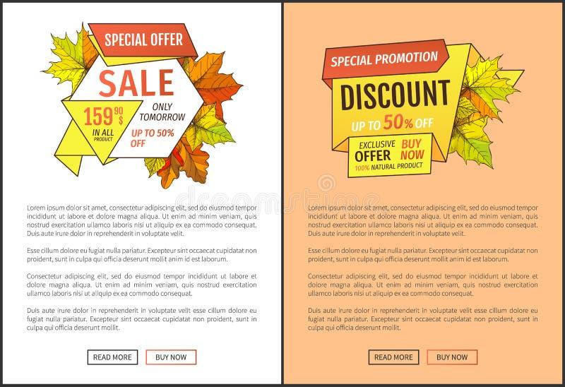 Femtio procent avfärdar det speciala erbjudandet i morgon Sale vektor illustrationer