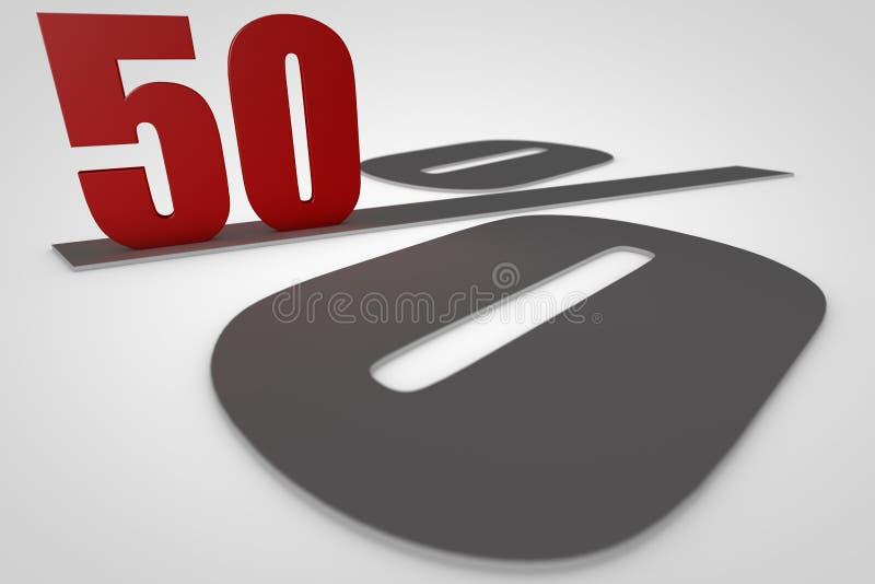 Femtio procent, 3d framför royaltyfri illustrationer