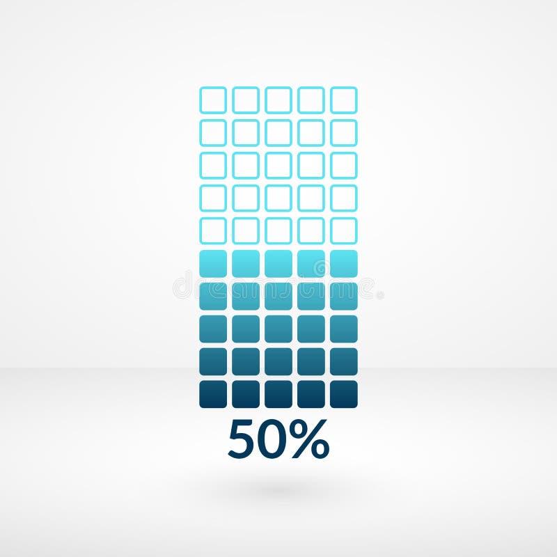 Femtio procent fyrkantigt diagram isolerat symbol Symbol för procentsatsvektor 50% för affären, rengöringsduk, design royaltyfri illustrationer