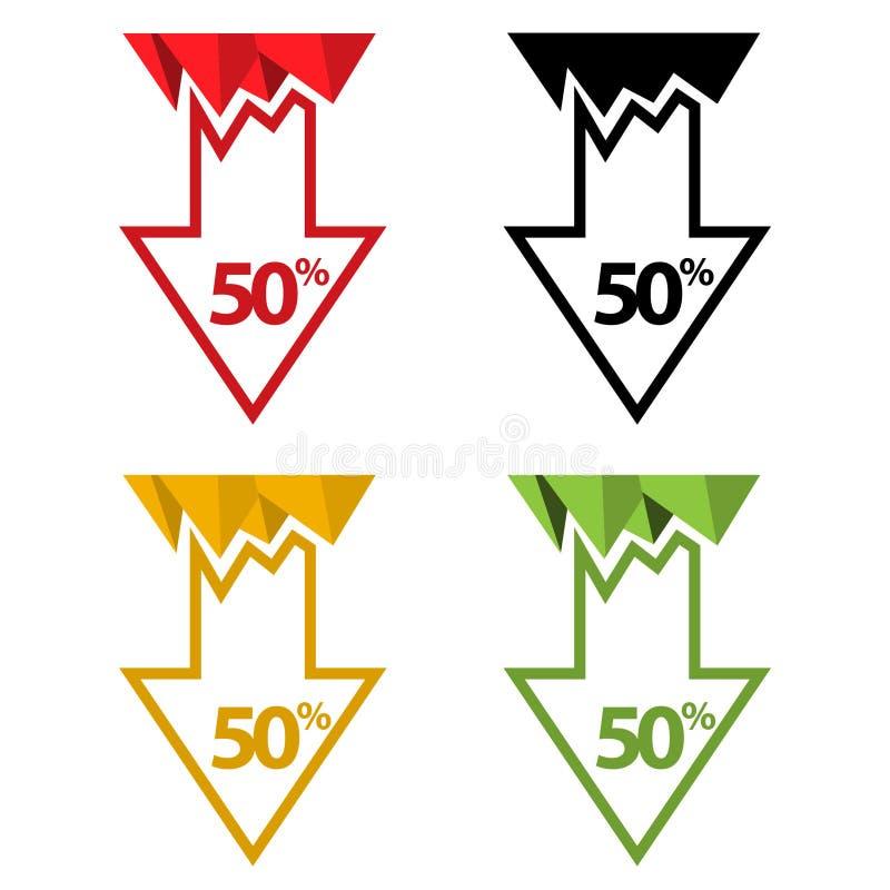Femtio procent ner, nedåt pilillustration vektor illustrationer
