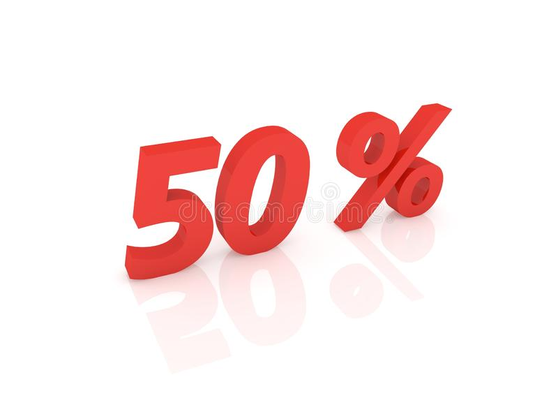 Femtio procent på en vit bakgrund stock illustrationer