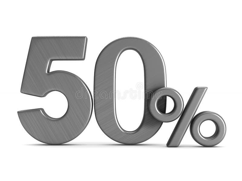 Femtio procent på vit bakgrund Isolerad illustration 3d vektor illustrationer