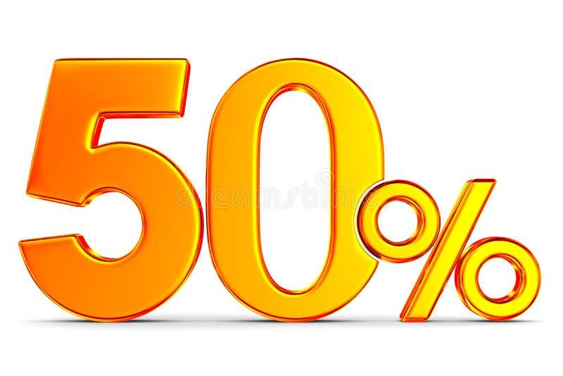 Femtio procent p? vit bakgrund Isolerad illustration 3d stock illustrationer