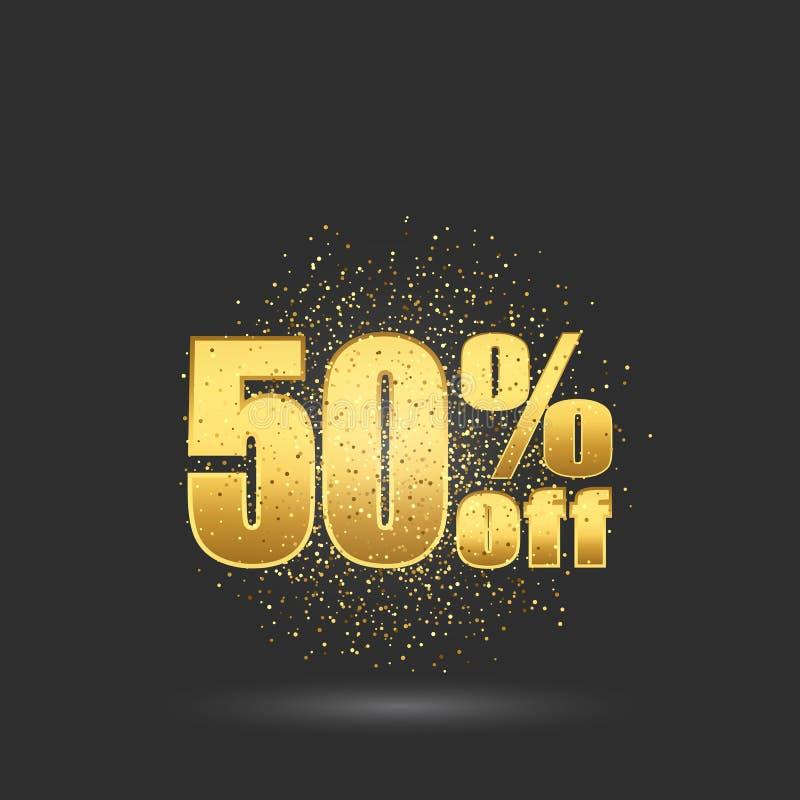 Femtio procent rabatt Guld blänker partiklar på de guld- numren för bakgrund vektor illustrationer