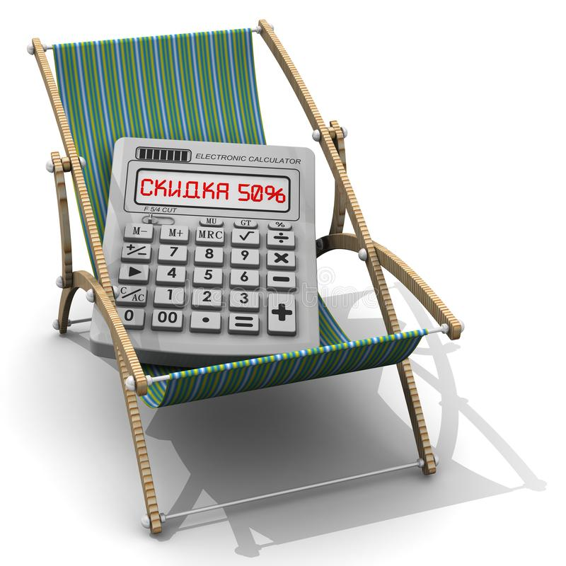 Femtio procent rabatt på semestern Översättningstext: 'Femtio procent rabatt ', royaltyfri illustrationer