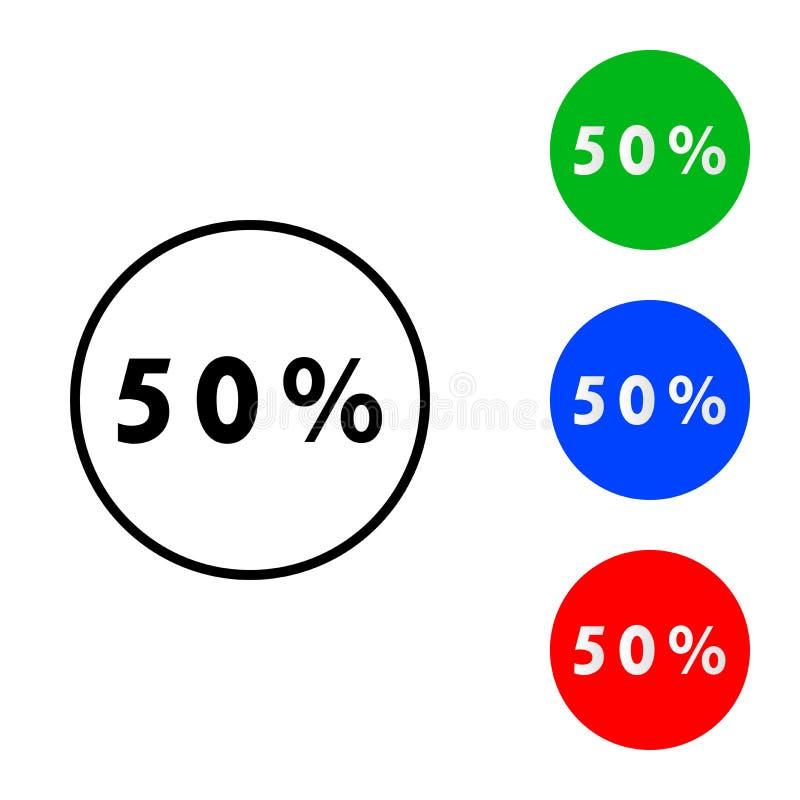 Femtio procent symbol stock illustrationer