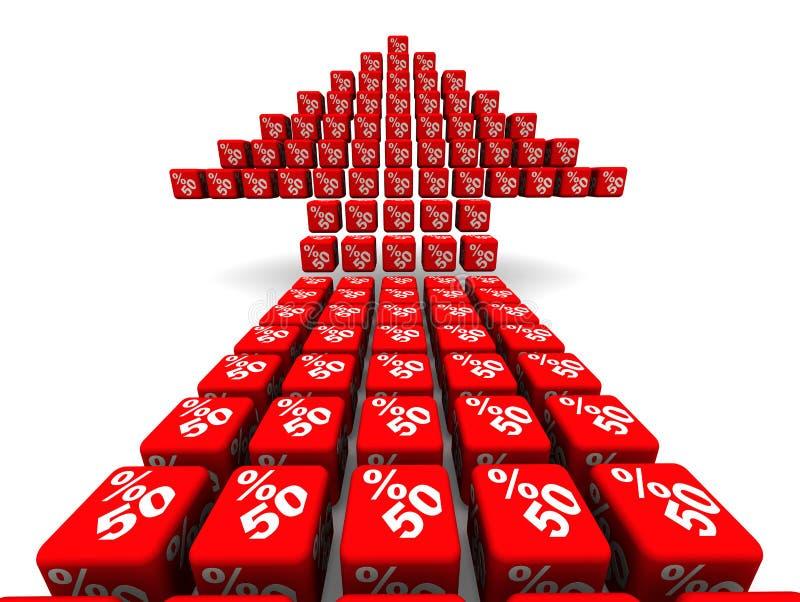 Femtio procent tillväxt Pilsymbol som göras från kuber royaltyfri illustrationer