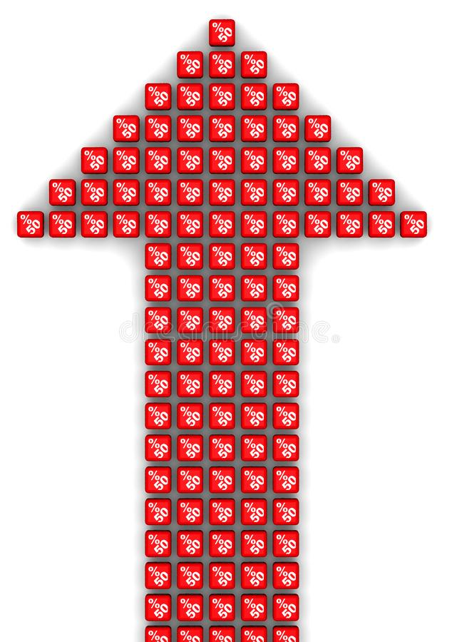 Femtio procent tillväxt Pilsymbol som göras från kuber vektor illustrationer
