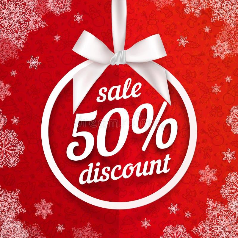 Femtio procent vit för julförsäljningsrabatt royaltyfri illustrationer