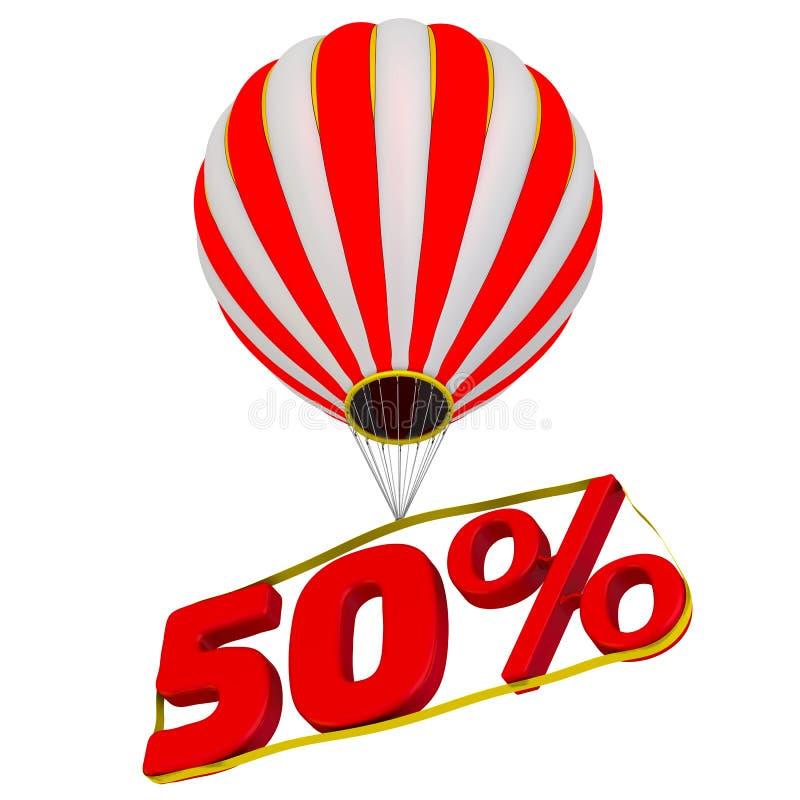 Femtio procentsats flyger i en ballong för varm luft stock illustrationer