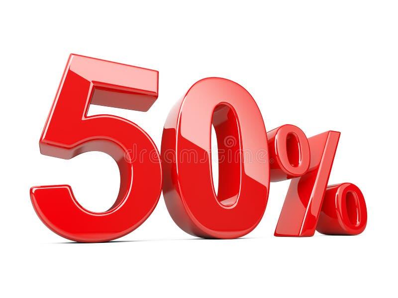Femtio rött procent symbol 50% procentsatshastighet Specialt erbjudande dis stock illustrationer