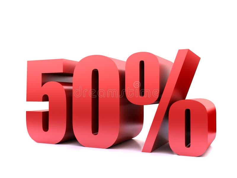 Femtio symbol för procent 50% 3d vektor illustrationer