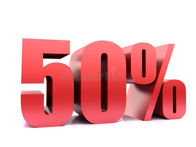 Femtio symbol för procent 50% 3d stock illustrationer