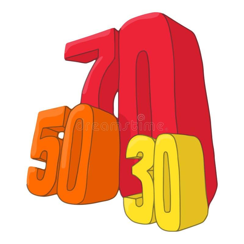 Femtio symbol för sjuttio och trettio rabatter royaltyfri illustrationer