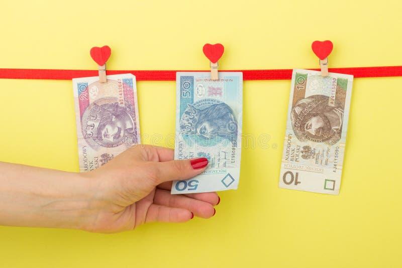 Femtio tjugo, zloty tio hänger på klädnyporna, gul bakgrund fotografering för bildbyråer
