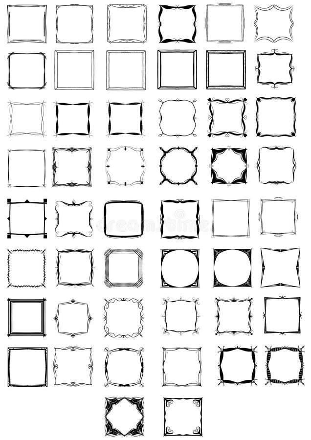 Femtio utdragna ramar för svartvit hand royaltyfri illustrationer