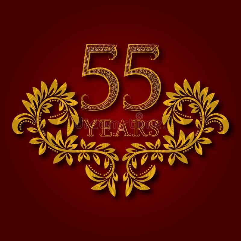 Femtiofem år mönstrad logotyp för årsdagberöm Guld- logo för femte tappning för årsdag femtio stock illustrationer