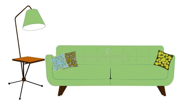 Femtiotalvardagsrum i pistaschfärger stock illustrationer