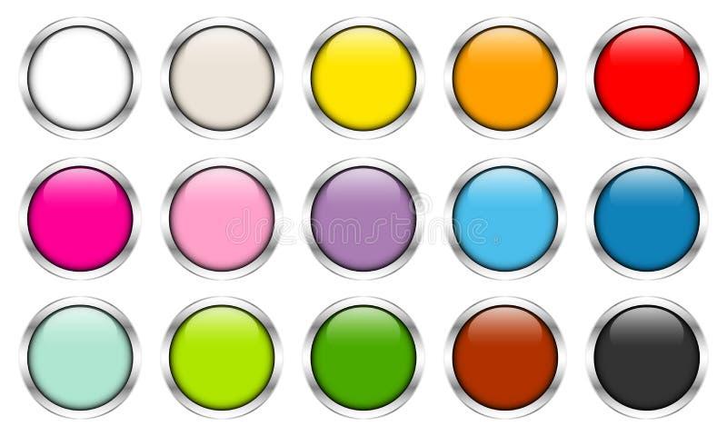 Femton glansiga knappar färgar försilvrar ramar vektor illustrationer
