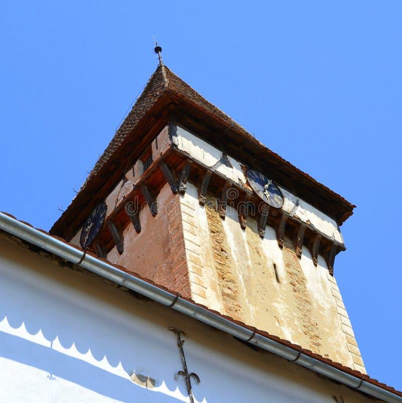 Fenêtre Église évangélique saxonne médiévale enrichie dans Veseud, Zied, Transilvania, Roumanie image libre de droits