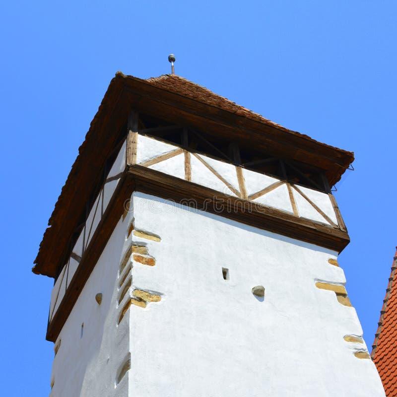 Fenêtre Église évangélique saxonne médiévale enrichie dans Veseud, Zied, Transilvania, Roumanie image stock