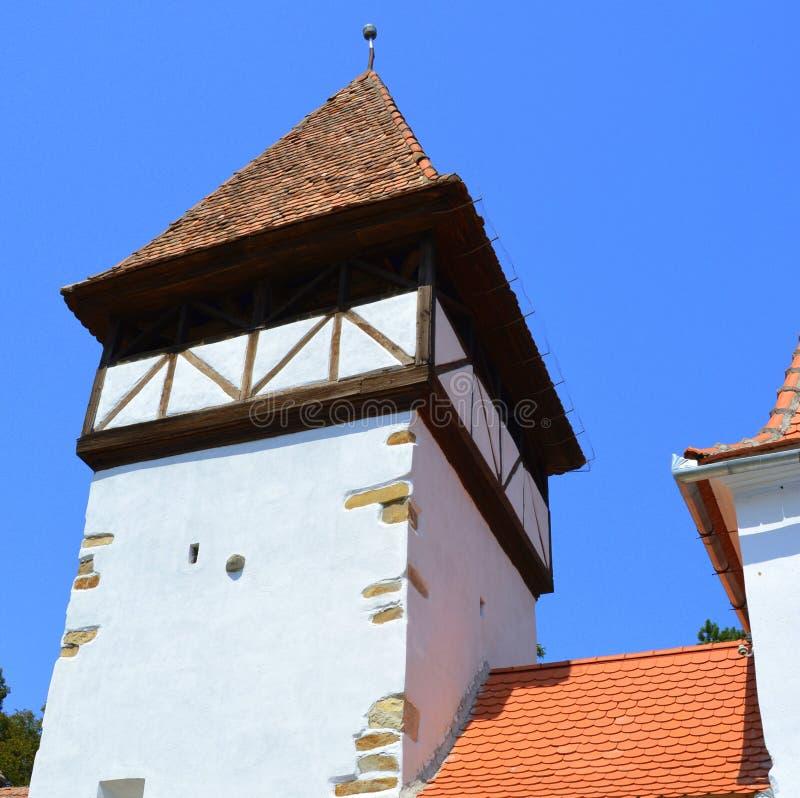 Fenêtre Église évangélique saxonne médiévale enrichie dans Veseud, Zied, Transilvania, Roumanie photo stock